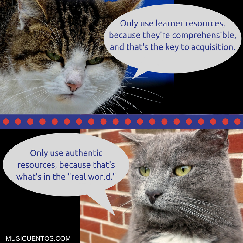 Only use learner resources,because they're comprehensible,and that's the key to acquisition.